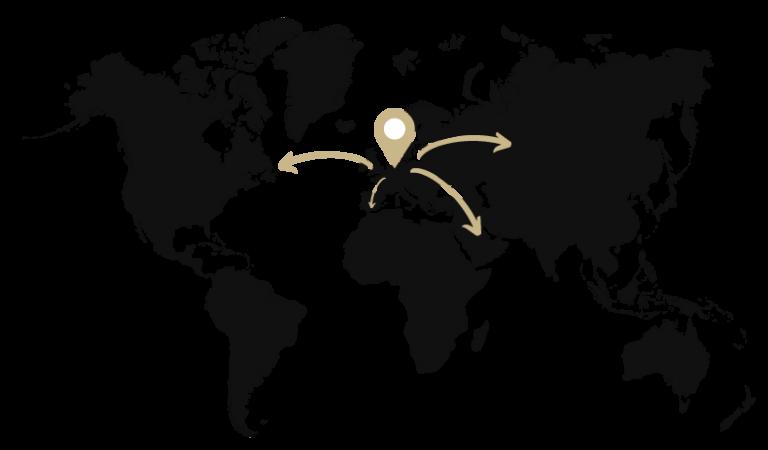 Black World Map With Location Pin Rotterdam