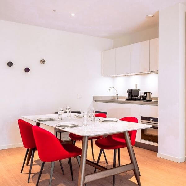 Dining room and Kitchen in Serviced Apartment in Amsterdam, Premiere Suites